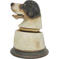 Pote Decorativo Cachorro- Bege Claro & Preto- 16X13Xbtc Decor