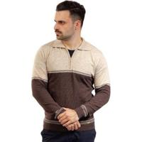 Blusa Gola Polo De Malha Sumaré Masculina - Masculino-Bege+Marrom