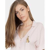 Camisa Listrada Com Bordado Tecido Rosa Apricot - Lez A Lez