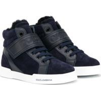 Dolce & Gabbana Kids Tênis Cano Alto Com Logo - Azul