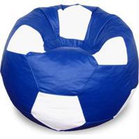 Puff Bola Super Em Corino Azul Royal & Branco
