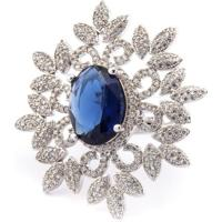 Anel Donna Semi Jóias Flower Azul Safira