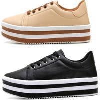 Kit 2 Tênis Casual Ousy Shoes Sapatenis Flatform Preto