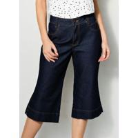 Calça Pantacourt Jeans Com Linha Contrastante