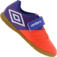 Chuteira Futsal Umbro Spirity Ic - Infantil - Laranja Esc/Azul