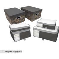 Kit De Caixas Para Enxoval- Incolor & Cinza Escuro- Boxmania