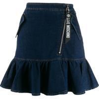 Love Moschino Saia Jeans Com Babados Na Barra - Azul