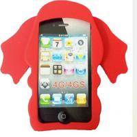 Capa Case Para Iphone 4/4S Silicone Elefante Vermelho