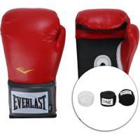 Kit De Boxe Everlast: Bandagem + Protetor Bucal + Luvas De Boxe Training - 14 Oz - Adulto - Vermelho