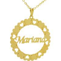 Gargantilha Horus Import Pingente Manuscrito Mariana Banho Ouro Amarelo