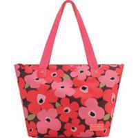 Bolsa Floral- Vermelha & Rosa- 30,5X48X18,5Cm- Jjacki Design