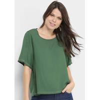 Blusa Colcci Lisa Costuras Ampla Feminina - Feminino-Verde Claro