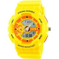 Relógio Infantil Skmei Anadigi Masculino - Masculino-Amarelo