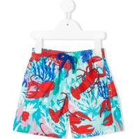 Vilebrequin Kids Short De Natação Com Estampa Coral Lobster - Azul