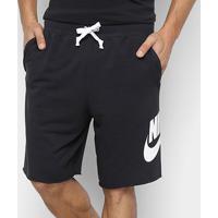 Bermuda Moletom Nike French Terry Alumni Masculina - Masculino-Preto+Branco