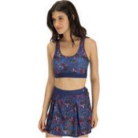 Top Fitness Com Bojo Barbie Flowers - Adulto - Azul Esc/Rosa