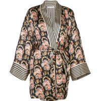 Oscar De La Renta Blusa Kimono Floral - Preto