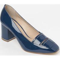 Sapato Tradicional Em Couro Envernizado - Azul Escuro