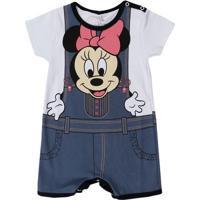 Macacão Infantil Para Bebê Menina Disney - Branco/Cinza