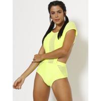 Body Com Vazados - Amarelo - Patrapatra