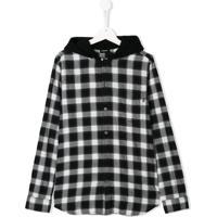 Diesel Kids Camisa Xadrez Com Capuz - Preto