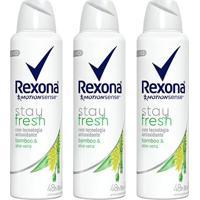 Kit 3X Desodorante Antitranspirante Rexona Bamboo & Aloe Vera Feminino Aerosol 150Ml - Feminino