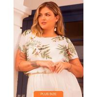 Blusa Plus Size Feminina Estampada Bege