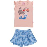 Conjunto Infantil Para Bebê Menina - Coral/Azul