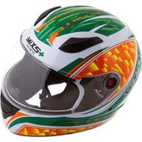 Capacete Mixs Helmets Fokker Flame - Branco/Verde