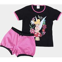 Pijama Infantil Disney Curto Tinker Bell Sininho Feminino - Feminino