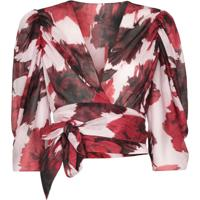 Alexandre Vauthier Blusa Com Transpasse E Estampa Floral - Vermelho