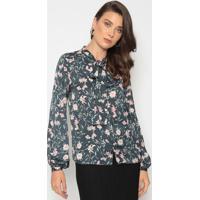Camisa Com Botões & Amarração - Verde Escuro & Rosa Clardudalina