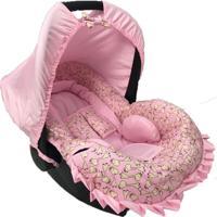 Conjunto Capa Para Bebê Conforto Girafa Alan Pierre Baby 0 A 13 Kg Com Acolchoado Extra Rosa