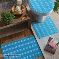 Jogo Para Banheiro Slim- Azul Claro & Branco- 3Pã§S