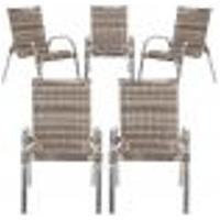 Cadeiras 5Un Para Area Varanda Fibra Sintetica Sala Cozinha Jardim Sacada Colombia - Capuccino