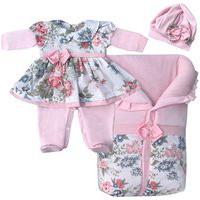 Saída De Maternidade Sônia Enxovais Menina Mariana Floral Com Porta Bebê Rosa
