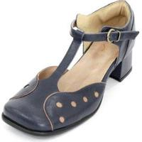 Sapato Boneca Couro Dali Shoes Bico Quadrado Bolinhas Feminina - Feminino-Azul