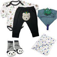 Kit 5 Peças Enxoval Estampado Roupa Para Bebê Menina Menino Azul