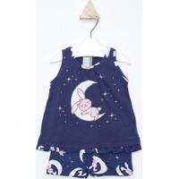 Pijama Lua & Coelho- Azul Marinho & Brancokyly