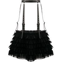 Comme Des Garçons Noir Kei Ninomiya Ruffled Buckle Skirt - Preto