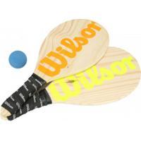 Kit De Frescobol Wilson: 2 Raquetes E 1 Bolinha - Marrom Cla/Verde Cla