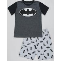 Pijama Infantil Batman Com Paetê Dupla Face Manga Curta Cinza Mescla Escuro