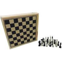 Jogo De Tabuleiro Xadrez 32 Peças Pangué - Unissex-Preto+Branco