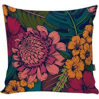 Capa De Almofada Floral- Verde Escuro & Rosa Escuro-Stm Home