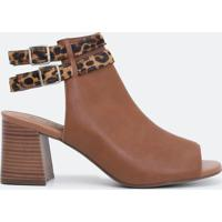 Sapato Feminino Com Tiras Animal Print Satinato