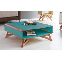 Mesa De Centro Quadrada Colorida Azul 70X70 Design Novo Retrô Vintage Presley - 70X70X29,5 Cm