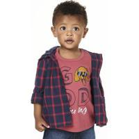 Camisa Infantil Bebê Menino Xadrez Com Capuz