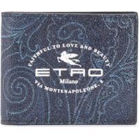 Etro Carteira Com Estampa De Logo - Azul