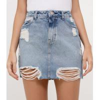Saia Jeans Com Puídos