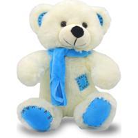 Urso De Pelúcia Com Cachecol 25Cm - Azul - Unik Toys